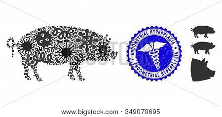 Microbe Mosaic Swine Icon And Rounded Grunge Stamp Watermark With Endometrial Hyperplasia Caption An