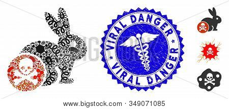 Contagion Mosaic Rabbit Toxin Icon And Rounded Distressed Stamp Seal With Viral Danger Text And Medi