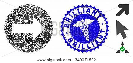 Viral Mosaic Rounded Arrow Icon And Rounded Grunge Stamp Seal With Brilliant Caption And Healthcare