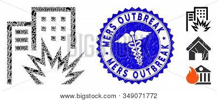 Infected Mosaic House Terror Icon And Round Rubber Stamp Seal With Mers Outbreak Text And Medic Icon