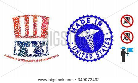 Infected Collage Uncle Sam Hat Icon And Rounded Corroded Stamp Seal With Made In United States Phras