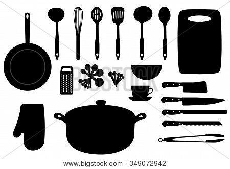 Vector Illustration Of Kitchen Utensils. Kitchen Logo Set.