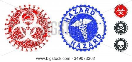 Contagion Mosaic Virus Hazard Icon And Rounded Rubber Stamp Seal With Hazard Text And Caduceus Icon.