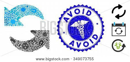 Virus Mosaic Refresh Icon And Rounded Grunge Stamp Seal With Avoid Text And Serpents Symbol. Mosaic