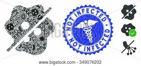 Outbreak Mosaic Not Infected Icon And Rounded Rubber Stamp Seal With Not Infected Caption And Caduce
