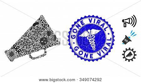 Contagion Collage Megaphone Icon And Rounded Corroded Stamp Seal With Gone Viral Text And Medical Si