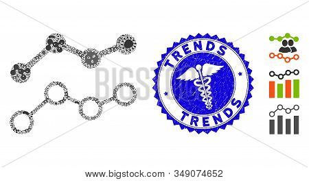 Contagion Mosaic Trends Icon And Round Grunge Stamp Watermark With Trends Text And Doctor Icon. Mosa