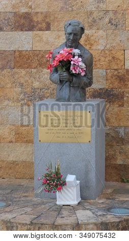 Alora, Spain - February 01, 2020: Memorial To Senorita Laura Who Dedicated Her Life To The Needed In