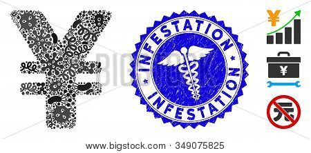 Infected Mosaic Yen Icon And Round Distressed Stamp Seal With Infestation Caption And Medicine Icon.