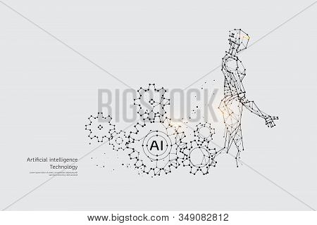 The Particles, Geometric Art, Line And Dot Of Gear And Robot. Abstract Vector Illustration. Graphic