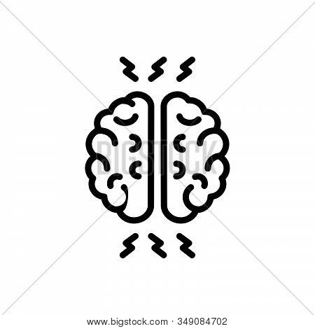 Black Line Icon For Ptsd Post-traumatic-stress-disorder Symptoms Mind Health Anxiety-disorder Brains
