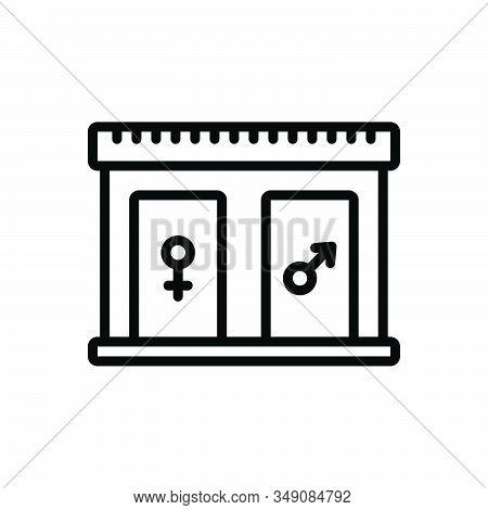 Black Line Icon For Restroom Bathroom Washroom Sanitary Toilet Lavatory Hygiene Comfort Unisex Door