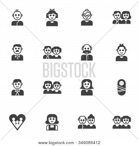 Family Members Vector Icons Set, Modern Solid Symbol Collection, Filled Style Pictogram Pack. Signs,