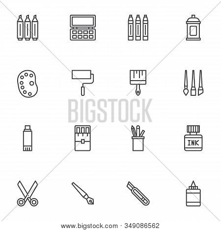 Stationery Tool Line Icons Set. Linear Style Symbols Collection, Outline Signs Pack. Vector Graphics