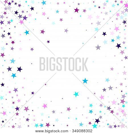 Flying Stars Confetti Holiday Vector In Cyan Blue Violet On White. Twinkle Starburst Astral Wallpape