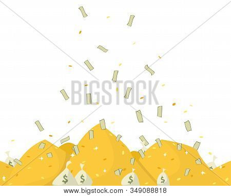 Pile Of Golden Coins And Banknotes. Bags With Money. Money Falling From Sky On Heaps Of Coins. Succe