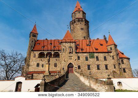 Bouov, Czech Republic - March, 30, 2019: Majestic And Romantic Bouzov Castle In Czech Republic