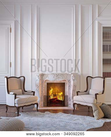 Classic Black Interior With Fireplace, Armchairs, Moldings, Wall Pannel, Carpet, Fur.