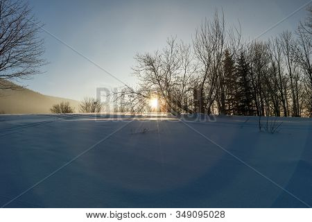 Winter Morning Scenry Wih Snow, Trees, Sun And Clear Sky On Butoranka Above Ostravice Village In Mor