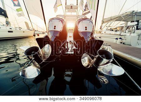 Engine. Speed Boat Engine With Propeller Details
