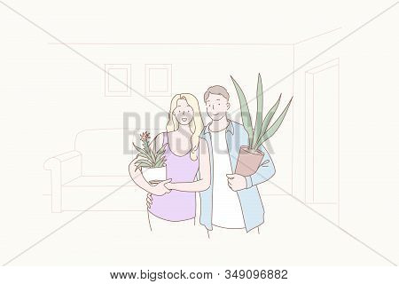 Greening, Comfort, Joint, Family, House Warming, Concept. Family Greening, Bettering Shared Apartmen