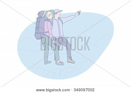 Hiking, Mountain, Online, Tourism, Travel, Concept. Young Happy Tourist Couple Making Photo And Vide