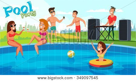 Summer Pool Party Flat Vector Banner Concept. Happy Friends In Swimwear Cartoon Characters. Young Wo