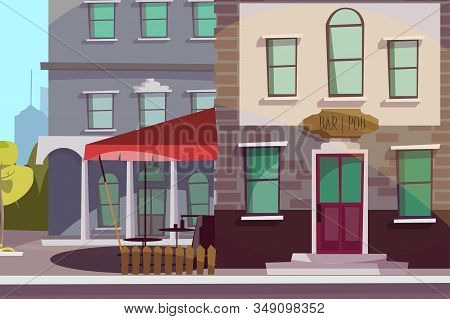 Pub, Bar Exterior Flat Vector Illustration. Empty City Street, Urban Architecture. Public Tavern Fac