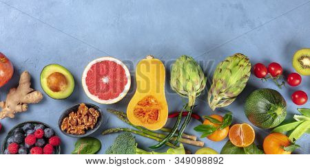 Vegan Food Top-down Panoramic Shot With A Place For Text. Healthy Diet Concept. Fruits, Vegetables,