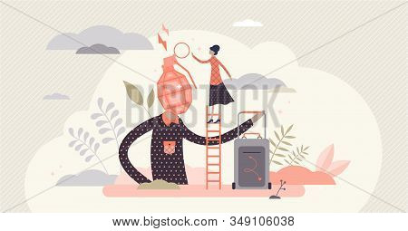 Fed Up Family Couple Relationships, Flat Tiny Person Vector Illustration. Married Couple Breakup. An