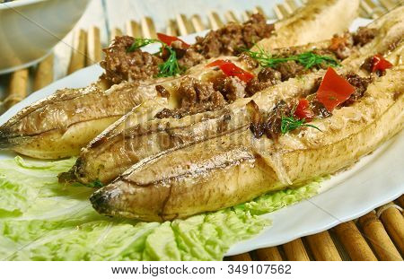 Puerto Rican  Stuffed Baked Plantains, Roasted Plantains Filled With Seasoned Ground Meat, Tomatoes,