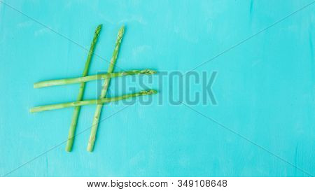 Conceptual Idea, Hashtag Made Of Asparagus, Healthy Food, Green Food, Hashtag Health.
