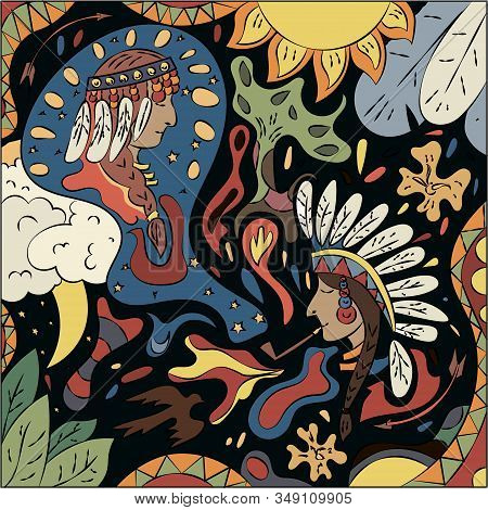 Bright Abstract Illustration On The Theme Of The Indians. Surreal Fantasy Vector Graphics.