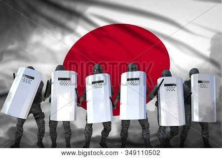 Japan Protest Fighting Concept, Police Officers Protecting Peaceful People Against Revolt - Military