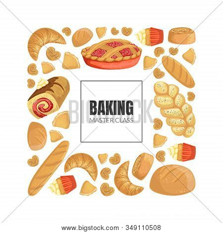 Baking Master Class Banner Template With Fresh Baking Products Seamless Pattern Vector Illustration