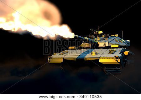 Military 3d Illustration Of Isolated Grey Heavy Tank With Not Existing Design In Combat, Very High R