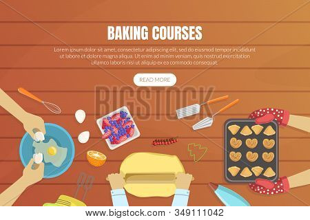 Baking Courses Landing Page Templates Set, Baking Cooking Class Online Web Page, App Vector Illustra