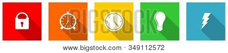 Set Of Colorful Web Flat Design Vector Icons, Time, Clock, Padlock, Power Buttons In Eps 10 For Webd
