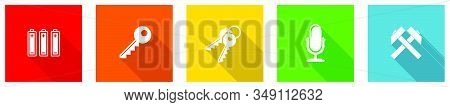 Set Of Colorful Web Flat Design Vector Icons, Key, Access, Microphone, Electricity And Mine Buttons