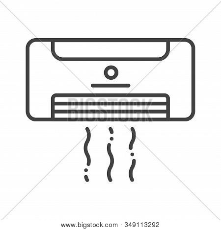 Air Conditioner Black Line Icon. Hotel Amenities Sign. Pictogram For Web Page, Mobile App, Promo. Ui