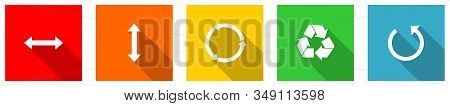 Set Of Colorful Web Flat Design Vector Icons,  Arrow, Ecology, Recycle And Direction Buttons In Eps