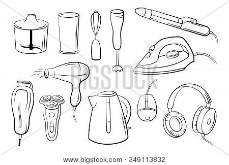 Group Of Technical Equipment Icons Shaver, Iron, Hair Dryer, Blender, Kettle, Headphones And Compute