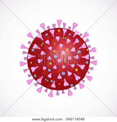 Vector Icon Of Novel Chinese Virus 2019-ncov, The Wuhan Coronavirus Isolated On White Background. Re