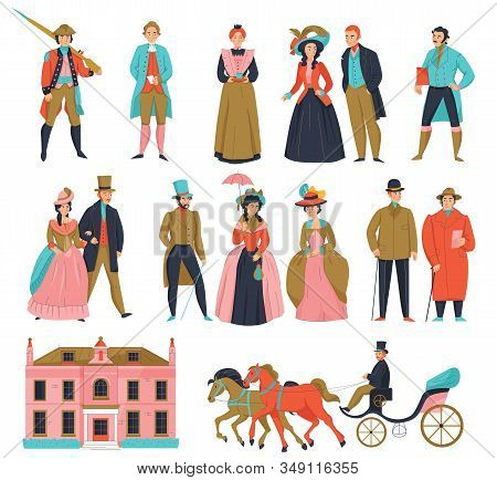 18th 19th Century Old Town Fashion Carriage Set With Isolated Icons And Human Characters Of Aristocr
