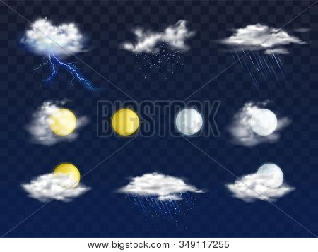 Set Of Weather Forecast App Realistic Icons With Various Clouds, Sun And Moon Disks Illustration Iso