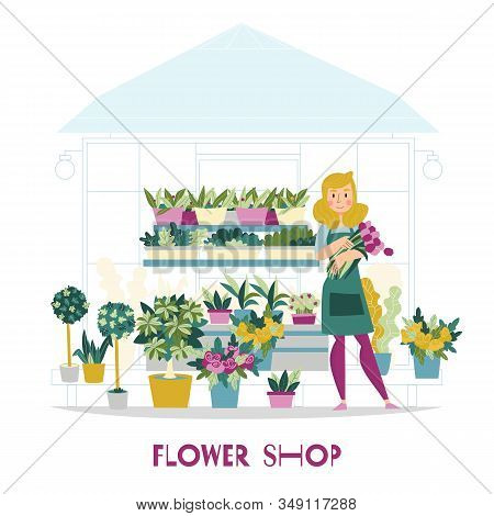 Florist Seller Flowers Shop Composition With View Of Kiosk With Flowers On Shelves And Female Charac