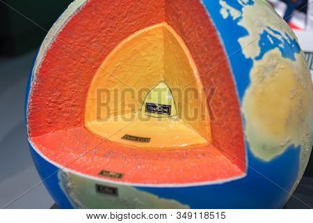 Section Of The Terrestrial Globe: Magma, Inner And Outer Core.