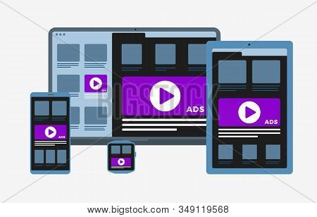 Programmatic Advertising And Targeting Native Marketing Concept. Cross-device And Multi Target Audie