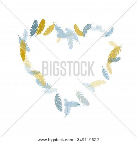 Abstract Silver Gold Feathers Vector Background. Detailed Majestic Feather On White Design. Angel Wi