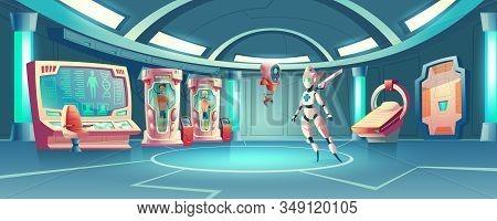 Cartoon Background Anabiosis Room With Hibernation Cameras, Medic Robot To Control Sleep Of Astronau